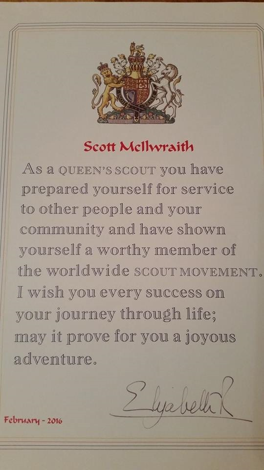 Queens Scout Award certificate Scott McIlwraith